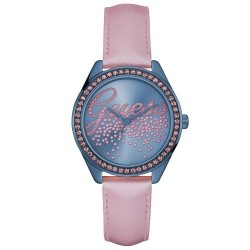 Guess Watch montre Little Party Girl Petite Fêtarde rose et bleu cuir zirconium